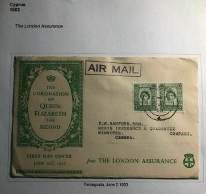 1953 Ceylon Queen Elizabeth II Coronation First Day cover FDC To Winnipeg Canada
