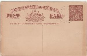 AUSTRALIA 1920 KGV 11/2D POSTCARD CTO