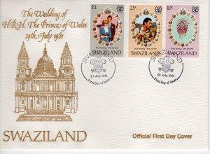 Swaziland 1981 Sc#382/384 Diana Wedding-Flowers Set (3) FDC Unaddressed