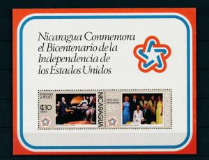 [19678] Nicaragua 1976 Bicentennial Independence USA George Washington Sheet MNH