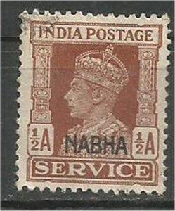 INDIA, NABHA, 1943, used 1/2a Overprint Scott O42