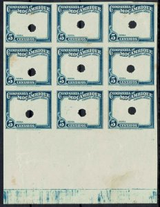 MOZAMBIQUE COMPANY 1935 AIRMAIL 5C FRAME ONLY IMPERF PROOF BLOCK MNH **