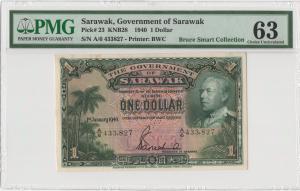 Sarawak - 1940 - 1 Dollar - Pick# 23 - PMG 63