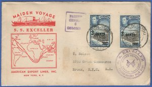 T246 - CEYLON 1941 WWII Censored, Maiden Voyage, S.S. EXCELLER, Colombo to USA