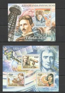 TG1054 2011 TOGO GREAT PHYSICISTS TESLA NEWTON COPERNIC EDISON BL+KB MNH