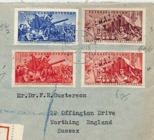 Czechoslovakia 1952 Cover LIBERATION TANKS & LABOUR DAY Sets {samwells}BU67