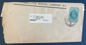 1902 London England Postal Stationery Wrapper Cover To Odessa Russia Daily Mail