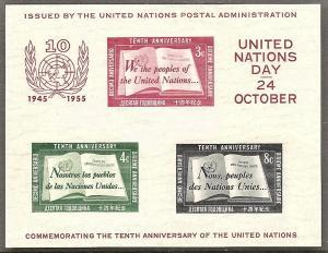 UN-NY   38 MNH 1955 UN Charter Souvenir Sheet CV $120.00