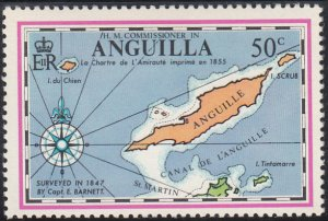 Anguilla 1972 MNH Sc #139 50c Map of Anguilla and St. Maarten Barnett
