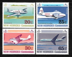 New Hebrides, British 151-154: Airplanes, MH, VF