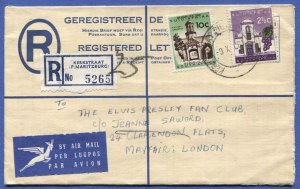 SOUTH AFRICA 1961 Uprated 5c Registered Stationery to ELVIS PRESLEY FAN CLUB, UK