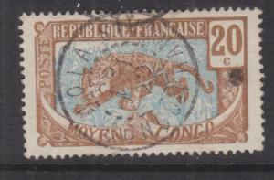 MIDDLE CONGO, 1907 Leopard, 20c. Brown & Blue, used,.