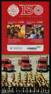 HERRICKSTAMP NEW ISSUES COSTA RICA Sc.# 669 Firefighting S/S (Scented)