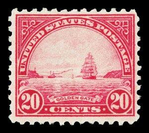 Scott 567 1923 20c Golden Gate Flat Plate Issue Mint F-VF OG HR Cat $16