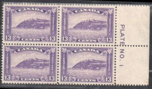 Canada #201 MINT NH - Block of 4 Right Plate No 1 C$650.00
