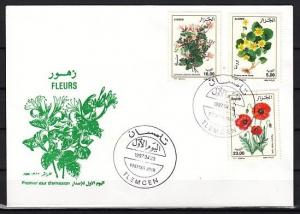 Algeria, Scott cat. 1088-1090. Garden Flowers issue. First day cover.