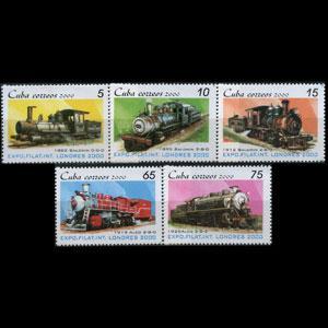 CUBA 2000 - Scott# 4073-7 Locomotives Set of 5 NH
