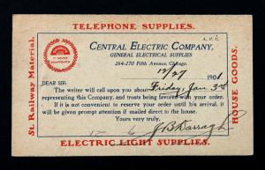 US Postal Card Sc# UX14 Preprinted Sales Rep.  The Original Central Electric Co.