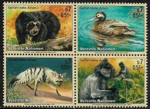 UN, Vienna #287a MNH Block - Endangered Species
