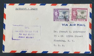 1941 Bathurst Gambia Airmail First Flight Cover FFC To Lagos Nigeria
