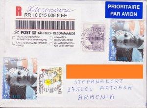 ESTONIA REGISTERED LETTER TO NAGORNO KARABAKH ARMENIA 2 DIFFERENT VALUES R1188