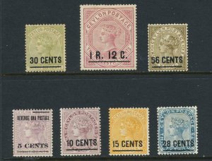 CEYLON 1885 SET, VF MLH SG#187-93 CAT£225 (SEE BELOW)
