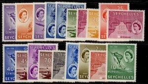 SEYCHELLES QEII SG174-188, complete set, M MINT. Cat £100.