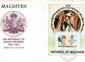 Maldive Islands 1980 Sc# 875 Queen Mother 80th.Anniversary  S/S F.D.C.