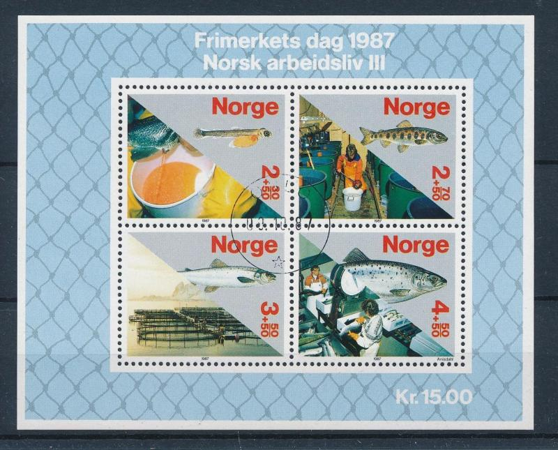 [59859] Norway 1987 Fish Salmon Souvenir Sheet Used