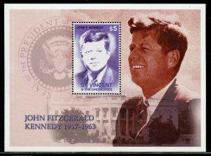 ST, VINCENT GREN. JOHN FITZGERALD  KENNEDY 1917-1963 S/SHEET  MINT NEVER  HINGED
