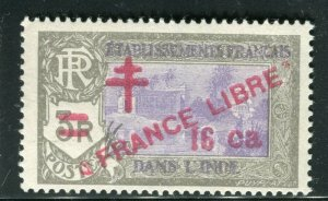 FRENCH COLONIES INDIA; 1941 early FRANCE LIBRE Optd. Mint hinged 16ch. value