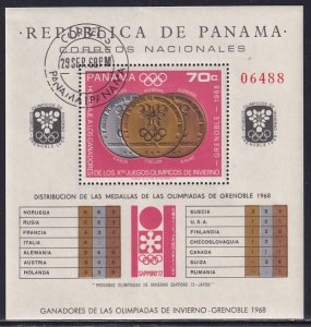 Panama 1968 Sc 487i Grenoble Olympics List of  Medals Winners Stamp SS CTO NH
