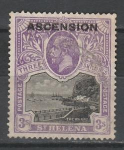 ASCENSION 1922 KGV OVERPRINTED 3/-  USED
