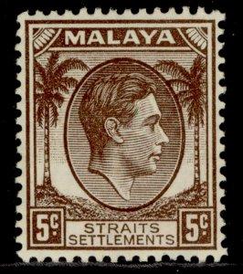 MALAYSIA - Straits Settlements GVI SG281, 5c brown, M MINT. Cat £24.
