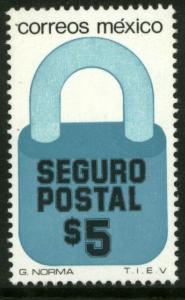 MEXICO G31, $5P Padlock Insured Letter Wmkd Fosfo Paper 2. MINT, NH. F-VF.
