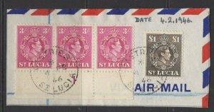 ST.LUCIA SG136a x3 + SG141 1946 £1 SEPIA FINE USED ON PIECE