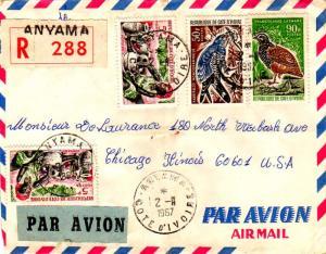 Ivory Coast 5F Potter (2), 50F Lizard Buzzard, and 90F Forest Francolin 1967 ...
