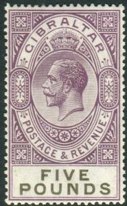 GIBRALTAR-1925-32 £5 Violet & Black.  A lightly mounted mint example Sg 108