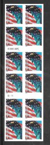 #3973a MNH  Flag and Liberty Non-denom. Pane of 20 Plate #S1111