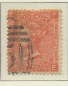 Great Britain Stamp Scott #43 Plate #12, Used - Free U.S. Shipping, Free Worl...