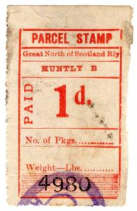(I.B) Great North of Scotland Railway : Parcel Stamp 1d (Huntly)