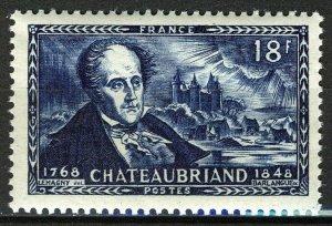 France 1948, 18 Fr François René Chateaubriand (1768-1848), poet VF MNH, Mi 827