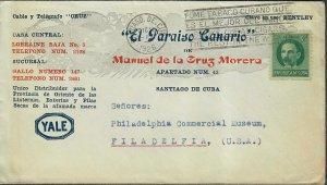 US Possessions Cuba Cover Adv El Paraiso Canario 1926