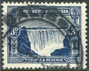 SOUTHERN RHODESIA-1931-37 3d Deep Ultramarine Sg 18 GOOD USED V48990