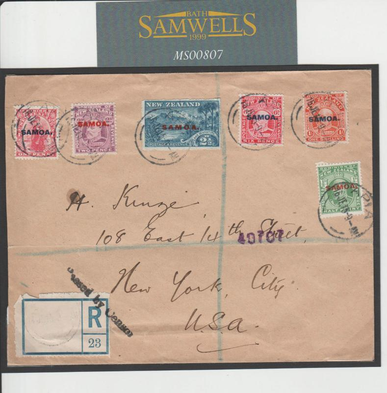 MS807 SAMOA Overprint KEVII NZ Stamps Cover 1915 WW1 CENSOR Registered Mail USA