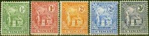 St Vincent 1907-08 set of 5 SG94-98 Fine Mtd Mint