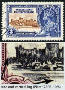 Somaliland Protectorate SG88k 1935 Silver Jubilee 3a Kite and Vertical Log Flaw