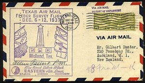 USA 1937 Texas Air Mail Feeder cover Midland to Houston on to NZ, signed...18553
