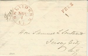 U.S. 1840, William G. Morris, Free Frank, Red BELVIDERE N.J. and FREE Marking