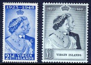 VIRGIN ISLANDS — SCOTT 90-91 — 1948 SILVER WEDDING SET — MNH — SCV $18.35